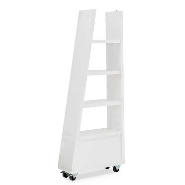 Slanted shelf on wheels